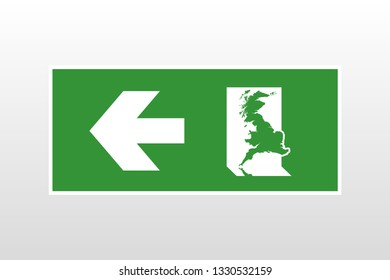 Brexit: exit sign with the map of Great Britain exiting through the emergency exit