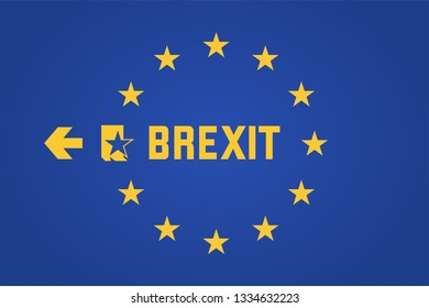 Brexit: exit sign on an EU flag with one of the EU stars leaving through emergency exit