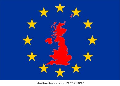 Brexit Great Britain Map with European Stars Circle