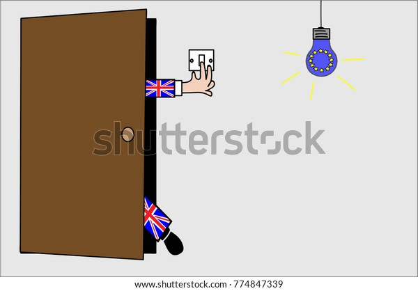 Brexit illustration showing 'Britain' leaving and switching off the European light bulb as it goes.
