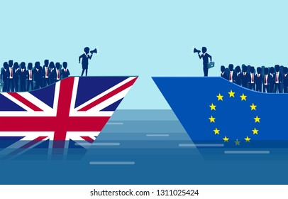 Brexit negotiations and crowd manipulation concept. Vector of a British and European Union ships with leaders negotiating an exit deal, followed by crowd of people