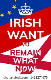 Brexit poster saying irish want to remain what now with the flags of the European union and Saint Patrick's Saltire.