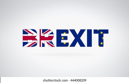 Brexit referendum concept about UK (United Kingdom or British) withdrawal from the EU (European Union) often shortened to Brexit. The flags of UK half with EU. For Brexit referendum campaign.
