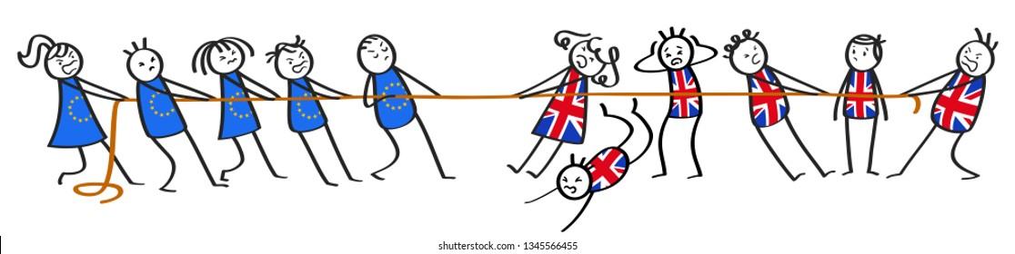 Brexit tug of war between EU and Great Britain, groups of stick figures, chaos, metaphor, isolated on white background