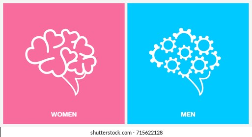 Brian illustrates vector creative different concept between men and women logic thinking physical phycology icons symbol,  Best for poster banner flyer website or articles templates.