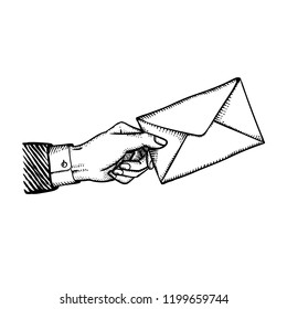 Bribe or blackmail concept illustration engraved vintage style of vector hand with envelope giving crime isolated on white