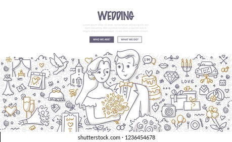 Bribe & groom on wedding day, surrounded with different wedding related elements and symbols. Doodle concept of marriage for web banner, hero images and printing materials