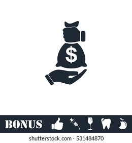Bribe icon icon flat. Vector illustration symbol and bonus pictogram