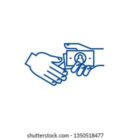 Bribe,gratuity,pension line icon concept. Bribe,gratuity,pension flat  vector symbol, sign, outline illustration.