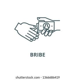 Bribe,gratuity,pension line icon, vector. Bribe,gratuity,pension outline sign, concept symbol, flat illustration