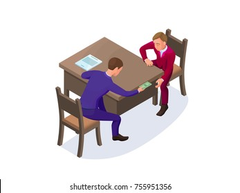 Bribery concept with businessman gives money as a bribe, isometric vector illustration of corruption, financial fraud, crime