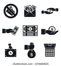 Bribery corrupt icon set. Simple set of bribery corrupt vector icons for web design on white background