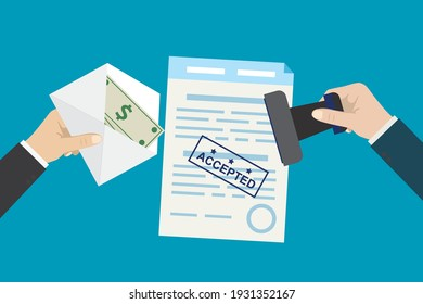 Bribery and corruption. Hand gives envelope with banknotes, other hand put stamp on document. Successful bribe deal. Criminal payment. Illegal cash for agreement or contract. Flat Vector illustration