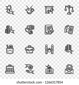 Bribery icon set. Outline set of bribery vector icons for web design