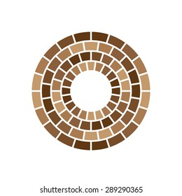 Brick Abstract Circle icon. Corporate, Media, Technology styles vector logo sign design template.Brown color.