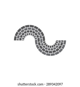 Brick Abstract Circle icon. Corporate, Media, Technology styles vector logo sign design template. curve shape.