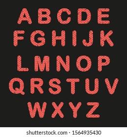 brick alphabet. Cracks. vector illustration