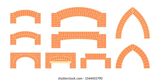 Brick arches set. Masonry icons in flat style. Vector illustration on a white background.