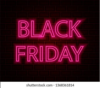 Brick background. Black friday neon text. Vector illustration.