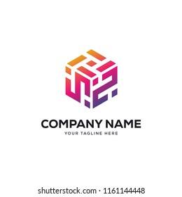 brick building logo design vector, initial letter logo s, n, ns, sn design template