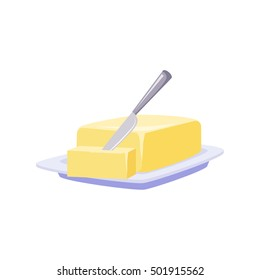 Brick Of Butter On Plate With Knife, Milk Based Product Isolated Icon