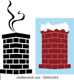 Brick Chimney Icon with Snow and Smoke Vector Illustration