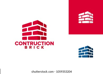 Brick Construction Logo Template Design Vector, Emblem, Design Concept, Creative Symbol, Icon