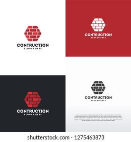 Brick Contruction logo designs concept vector, Brick Work logo symbol icon