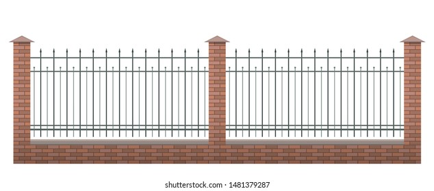 Brick fence vector illustration isolated on white background with metallic