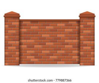 brick fence vector illustration isolated on white background