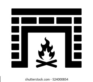 Brick fire place or fireplace flat vector icon for apps and websites