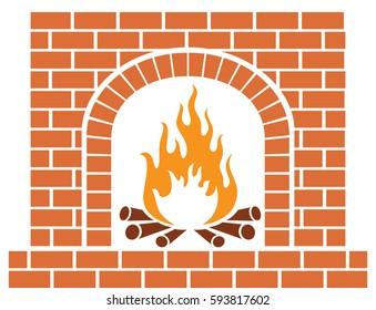 brick fireplace vector illustration