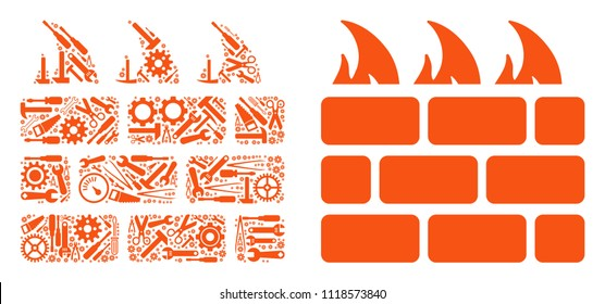 Brick firewall collage of service tools. Vector brick firewall icon is composed with gearwheels, spanners and other technical items. Concept of tuning service.