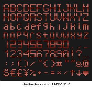 brick font alphabet, retro game typeface