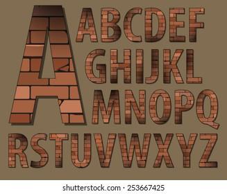 Brick font. Capital letters.