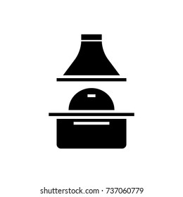 brick grill icon, vector illustration, black sign on isolated background