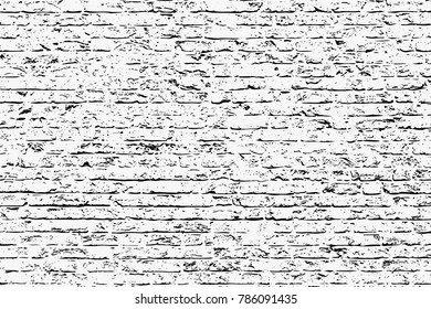 Brick grunge style background. Brick Wall silhouette pattern. Vintage style with detail grunge. Monochrome retro scratch background. Vector art