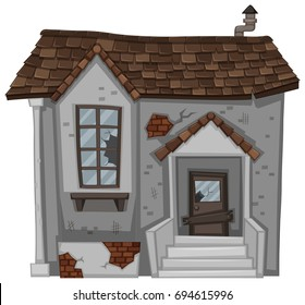 Brick house with broken door and window illustration
