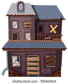 Brick house with broken door and windows illustration
