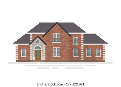 Brick house building vector illustration isolated on white background