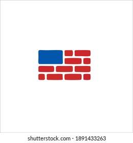 Brick Industry Symbol Logo. Vector Illustration.
