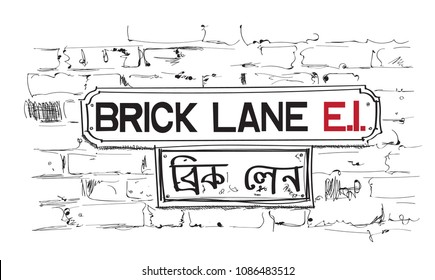 brick lane in london street sign. hand drawn vector illustration.