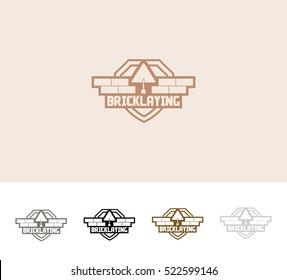 Brick laying Logo emblem badge  icon.