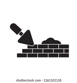 Brick laying masonry black vector concept icon. Brick laying masonry flat illustration, sign