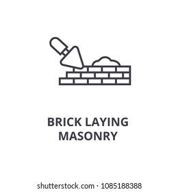 brick laying masonry vector line icon, sign, illustration on background, editable strokes