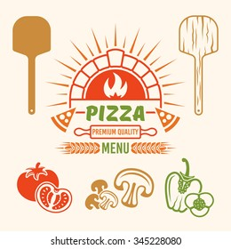 Brick oven and pizza vector colored emblem or label for pizzeria menu, and design elements (tomato, mushrooms, bell pepper, wooden shovel)