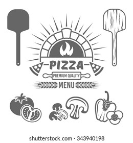 Brick oven and pizza vector monochrome emblem or label for pizzeria menu, and design elements (tomato, mushrooms, bell pepper, wooden shovel) isolated on white background