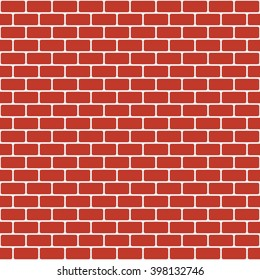 Brick pattern. Seamless vector brick wall background. Red bricks