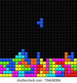 brick retro tetris game vector template eps 10