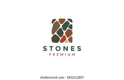 brick stone gravel wall building colorful logo vector icon illustration design